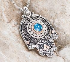 Hamsa Necklace Sterling Silver Hamsa Necklace Gold by GefenJewelry