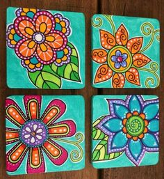 Set of 4 hand painted flowered patterned wood by TaparaDesigns Pintura Hippie, Painted Pots, Hand Painted, Arte Van Gogh, Paint Your Own Pottery, Hippie Art, Beginner Painting, Whimsical Art, Rock Art