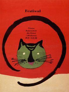 ADVERTISING EXHIBITION FESTIVAL FILM MOVIE CAT POLAND WARSAW POSTER PRINT LV795