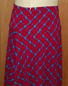 a5f982e43 LuLaRoe LLR Maxi Skirt Dark Red with Blue Geometric Design Size 2XL New Tags