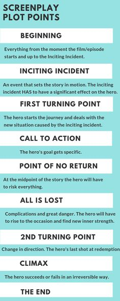 Screenplay Plot Points Screenplay Plot Points explained in this easy & FREE Step-by-step guide with examples and tips by a professional screenwriter. The post Screenplay Plot Points appeared first on Film. Creative Writing Tips, Book Writing Tips, Script Writing, Writing Resources, Writing Help, Writing Skills, Writing Ideas, Film Tips, Film Script