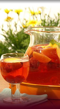 There are so many ways to enjoy Sangria.  The combinations are endless!  Peaches, red raspberries, orange slices and even apple slices!