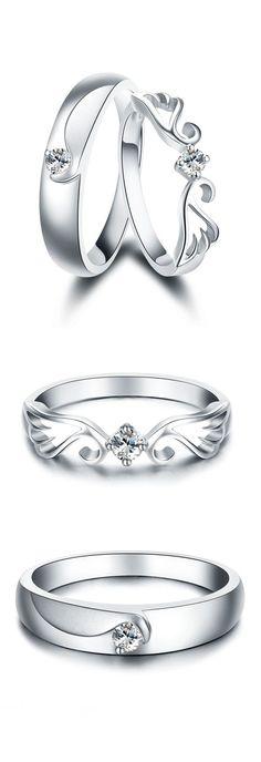 Matching Set for Couples, Sterling Silver + CZ Diamond, Lovely Gifts #HisandHersDiamondWeddingRingSets