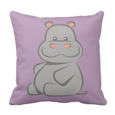 Baby Hippo Throw Pillow