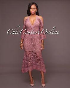 Aria Mauve Crochet Cut-Out Shoulders Dress Best Formal Dresses, Elegant Dresses, Sexy Dresses, Fashion Dresses, Evening Gowns On Sale, Chic Couture Online, Ankara Dress, Club Dresses, African Fashion