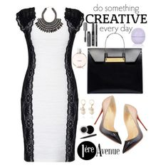 Figure hugging black and white dress is stunning by Joseph Ribkoff.  A sexy, but very classy look, especially with the added accessories.