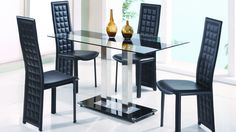 "Global D2108DT Dining Table - Elegant dining table. The design of the table is made of metal, table top made of clear glass. The table will fit perfectly into any contemporary interior. Dimensions: L53"" x D31"" x H30""."
