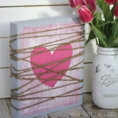 Pink Painted Burlap Heart Plaque | View From The Fridge
