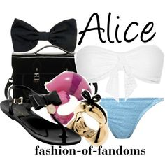 A fashion look from June 2013 featuring white swimsuit, bikini bottom swimwear and flats sandals. Browse and shop related looks. Teen Fashion Outfits, Grunge Outfits, Girly Outfits, Alice In Wonderland Outfit, Disney Inspired Fashion, Disney Fashion, Women's Fashion, Alice Cosplay, Disney Bound Outfits