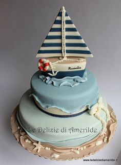 sailing boat cake - Cake by Luciana Amerilde Di Pierro Sailboat Cake, Nautical Cake, Fondant Cakes, Cupcake Cakes, Sea Cakes, Pink Cakes, Just Cakes, Occasion Cakes, Fancy Cakes
