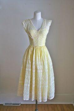 vintage 40s/50s party dress  LEMON EYELET sundress / XS by MsTips, $39.00