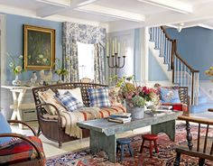 Country themed Living Room Decor Awesome 22 Cozy Country Living Room Designs Page 4 Of 4 Plaid Living Room, Country Style Living Room, Cozy Living, Bedroom Country, Country Stil, Country Decor, Country French, Country Blue, French Blue