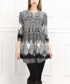 Love this Black & White Paisley Notch Neck Tunic by  on #zulily! #zulilyfinds