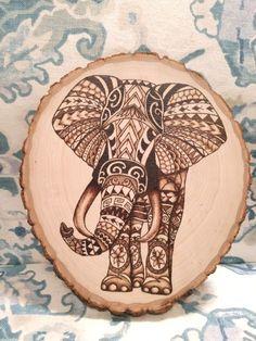 DIY Kits & Resources to Make Custom Light Fixtures and Lampshades Wood Burning Pyrography Tribal elephant Polynesian Home Made Original Wood Burning Tips, Wood Burning Techniques, Wood Burning Crafts, Wood Burning Patterns, Wood Crafts, Diy Wood, Wood Burning Projects, Diy Crafts, Pyrography Designs