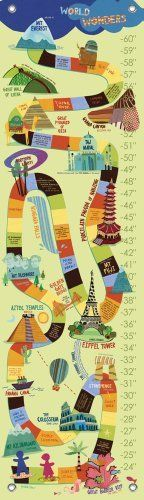 Oopsy daisy World Wonders Growth Chart by Jenny Kostecki- Shaw, 12 by 42 Inches by Oopsy daisy, Fine Art for Kids. $40.71. Wipes clean with a damp cloth. Measures 12-inch by 42-inch. Track the height of children up to five feet. Giclee printed on canvas. Art by Jenny Kostecki- Shaw. Children's growth chart featuring landmarks from around the world. Our kid's growth charts are created on the same artists canvas as our stretched wall art. Grommets placed in the four co...