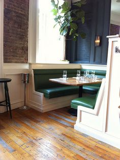 green/white/charcoal/brick/wood restaurant interior from urbangraceinteriors on Flickr