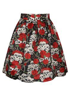 #TBDress - #TBDress Halloween Pleated Floral Skull Print Womens Skirt - AdoreWe.com