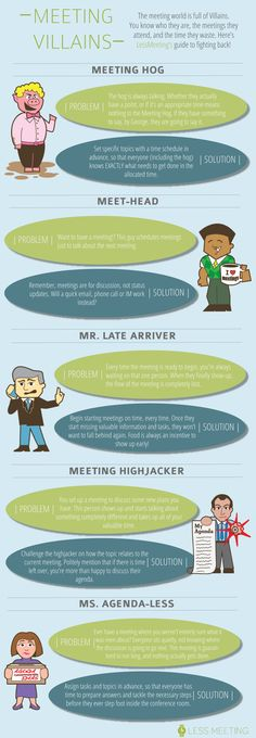 5 Kinds Of Business Meeting Villains Who Waste Your Time [Infographic] - Bit Rebels Business Analyst, Business Meeting, Business Tips, Effective Meetings, Computer Programming, Project Management, Workplace, Leadership, Communication