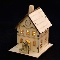 Noma Laser Cut Crafted Wooden 1 White LED Indoor Static Mini Town Hall