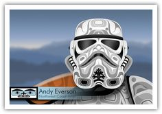 Andy Everson is a Northwest Coast Artist from Comox BC specializing in contemporary and traditional limited edition Native prints. Native Style, Native Art, Coast Style, Haida Art, Tlingit, Nerd Art, Native Design, Artist Gallery, Star Wars Art