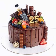 ideas for birthday cake chocolate decoration dads Birthday Cakes For Teens, 18th Birthday Cake, Birthday Cupcakes, Birthday Ideas, Alcohol Cake, Teen Cakes, Bottle Cake, Number Cakes, Oreo Cake