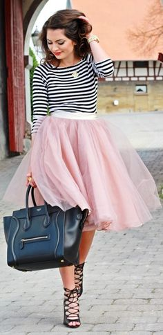 BGo & Me Nude Pink Midi Tulle Tutu Skirt by Fashion Hippie Loves