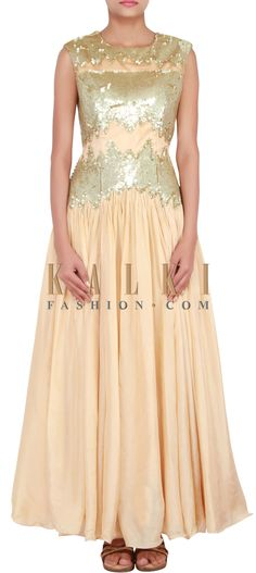Buy Online from the link below. We ship worldwide (Free Shipping over US$100) http://www.kalkifashion.com/catalog/product/view/id/14824/s/cream-anarkali-suit-embellished-in-sequin-only-on-kalki/