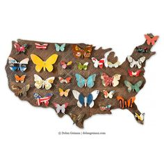 3D butterfly wall art features a rustic American map silhouette decorated with rainbow hued metal butterflies. Colorful, patriotic metal wall sculpture.
