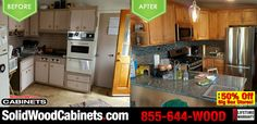 Awesome #beforeandafter picture sent in by our very happy and satisfied customer! #kitchencabinets #kitchendesign #homeimprovement #countertops #granite #granitecountertops #solidwoodcabinets #factorydirect #wholesalecabinets #discountcabinetry #kitchencabinetry #allwoodcabinets #kitchenappliances