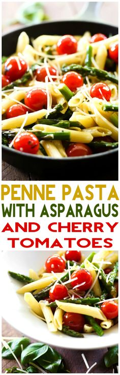 Penne Pasta with Asparagus and Cherry Tomatoes. this recipe is super light and packed with flavor! It is the perfect meal for spring time! Vegetable Recipes, Vegetarian Recipes, Cooking Recipes, Healthy Recipes, Fast Recipes, Asparagus Pasta, Asparagus Recipe, Pasta Dishes, Penne Pasta Recipes