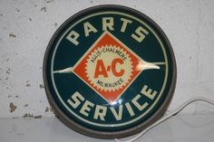 SCARCE 1950's ALLIS CHALMERS LIGHTED CLOCK REVERSE PAINTED GLASS BUBBLE SIGN