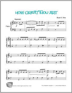 "Print Christian Hymn ""How Great Thou Art"" Easy Piano Sheet Music. Professionally arranged by the MakingMusicFun staff. #makingmusicfun #pianolessons #homeschoolmusic"