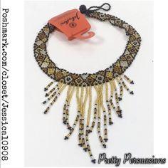Nwt Beaded Fringe Choker Necklace