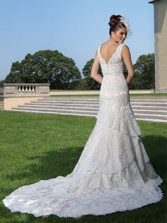 Double V Straps Crystal Tiered Trumpet Chapel Train Long Lace Wedding Dresses Bridal Wedding Dresses, Designer Wedding Dresses, Bridal Style, Lace Wedding, Flowy Gown, Chapel Train, Beaded Lace, Couture Collection, Lace Applique