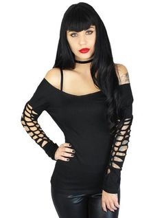 """Women's """"Slashed Boat Neck"""" Long Sleeve Cut Out Tee by Demi Loon (Black)"""
