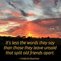 """It's less the words they say than those they leave unsaid that split old friends apart."" ~ Frederick Buechner #quote"