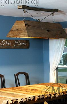 Barn wood chandelier.Reclaimed barn wood by MakariosDecor on Etsy