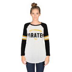 Women's Pittsburgh Pirates PINK by Victoria's Secret White/Black Bling Perfect Baseball Three-Quarter Sleeve T-Shirt