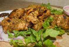 Chicken Pahadi Kabab: Rustic, earthy and smoky, these delicious chunks of meat are marinated in herbs and yogurt.  A quick and healthy meal.