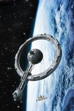 Ring Station by duo Bryce Science Fiction Spaceship Design, Spaceship Concept, Space Fantasy, Fantasy Art, Star Trek, Stargate, Sci Fi Ships, Futuristic Art, Environment Concept Art