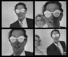 """Salvador Dali wearing André Courrèges Lunette """"Eskimo"""" White Sunglasses, c. Dali, White Lenses, White Sunglasses, Vintage Sunglasses, Costume Collection, Conceptual Design, Black N White Images, Vintage Fashion, Salvador Dali"""