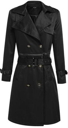 Double-Breasted Sateen 2 Piece Trench Coat in Black