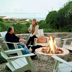 white houses, adirondack chairs, backyard fire pits, firepit, stone fireplaces, fire pit chairs