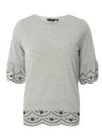 Womens Grey Embroidered Flute Sleeve Top- Grey