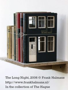 The Long Night, 2006 ©  Frank HALMANS (Artist. Netherlands). His website: http://www.frankhalmans.nl/ Book  sculpture. Now in the collection of The Hague... [Do not remove this caption] Respect people, respect copyright. The LAW requires the artist be credited. COPYRIGHT LAW REQUIREMENTS: http://pinterest.com/pin/86975836525792650/  HOW TO FIND the ORIGINAL WEB SITE of an image: http://pinterest.com/pin/86975836525507659/ The Golden Rule: http://pinterest.com/pin/86975836525355452/