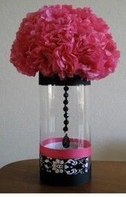 My Inexpensive Damask Centerpieces (Almost Finished) ;) :  wedding damask centerpieces hot pink and black JcrewPnkBlk