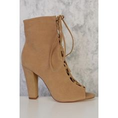Camel Lace Up Tie Detailing Peep Toe Single Sole Chunky Heel Booties Suede 2 Inch Heels, Lace Up Heels, Chunky Heels, Camel, Peep Toe, Booty, Stylish, Clothes, Kleding