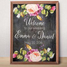 Druckbare Hochzeit Willkommensschild Willkommen zu von AlniPrints
