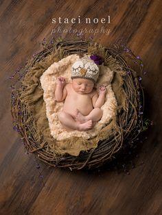 Staci Noel Photography. Charlotte, NC Newborn Baby Infant photography. #newbornphotography #babypictures #babygirl #babyowl #nest. Baby girl in owl hat in newborn nest prop