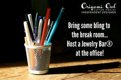 Bring some {bling} into the break room ... Host an Origami Owl Jewelry Bar!  https://www.facebook.com/OrigamiOwlVikkiBengtsonIndependentDesigner